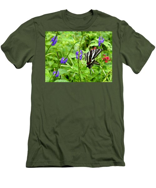Zebra Swallowtail On Blue Porterweed Men's T-Shirt (Athletic Fit)