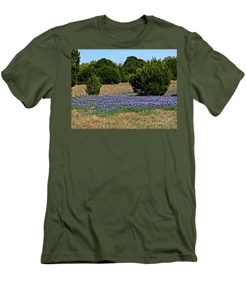 Men's T-Shirt (Slim Fit) featuring the photograph  Bluebonnet Trail - No.2016 by Joe Finney