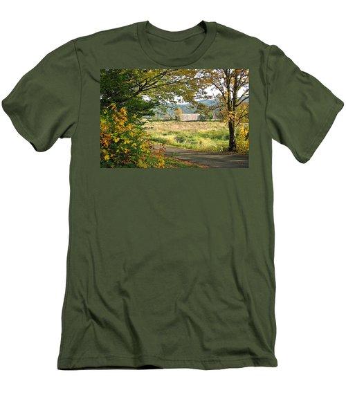 Fall At Grays River Covered Bridge Men's T-Shirt (Athletic Fit)