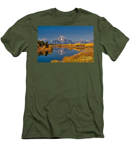 Fall Colors At Oxbow Bend In Grand Teton National Park Men's T-Shirt (Slim Fit) by Sam Antonio Photography