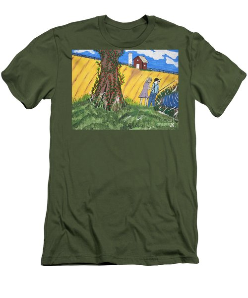 Men's T-Shirt (Slim Fit) featuring the painting  I Got A Big One. by Jeffrey Koss