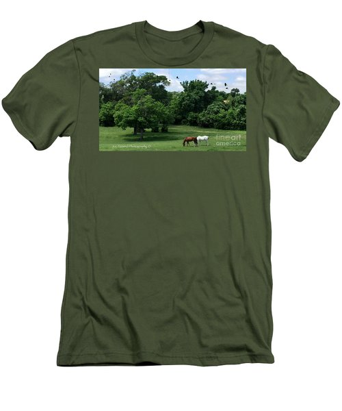 Men's T-Shirt (Slim Fit) featuring the photograph  Mr. And Mrs. Horse - No. 195 by Joe Finney