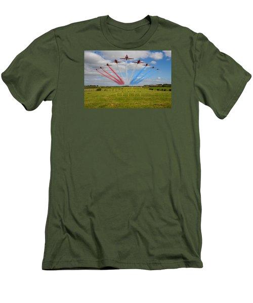 Red Arrows Running In At Brize Men's T-Shirt (Slim Fit) by Ken Brannen