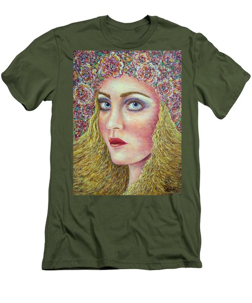 Men's T-Shirt (Slim Fit) featuring the painting   The Flower Girl by Natalie Holland