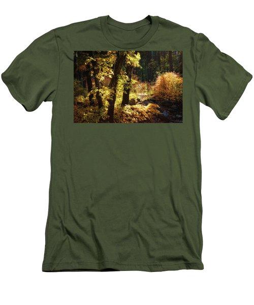 Men's T-Shirt (Athletic Fit) featuring the photograph An Autumn Morning In The Woods  by Saija Lehtonen