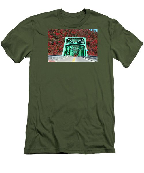 Autumn Bridge Men's T-Shirt (Slim Fit) by Michael Rucker