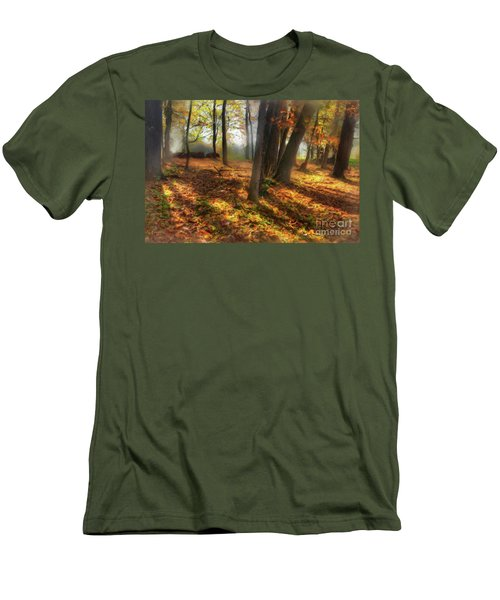 Men's T-Shirt (Slim Fit) featuring the painting Autumn Shadows In The Blue Ridge Ap by Dan Carmichael