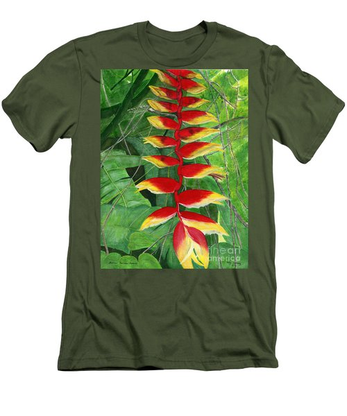 Men's T-Shirt (Slim Fit) featuring the painting Balinese Heliconia Rostrata by Melly Terpening