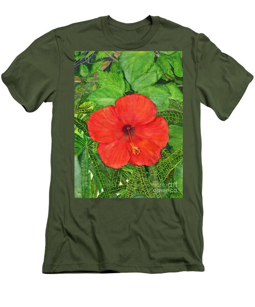 Men's T-Shirt (Slim Fit) featuring the painting Balinese Hibiscus Rosa by Melly Terpening