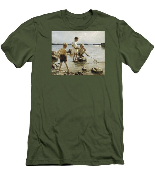 Boys Playing On The Shore Men's T-Shirt (Slim Fit) by Albert Edelfelt