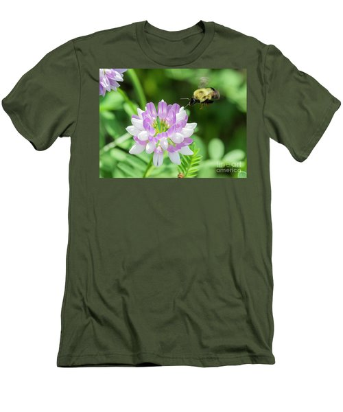 Bumble Bee Pollinating A Flower Men's T-Shirt (Slim Fit) by Ricky L Jones