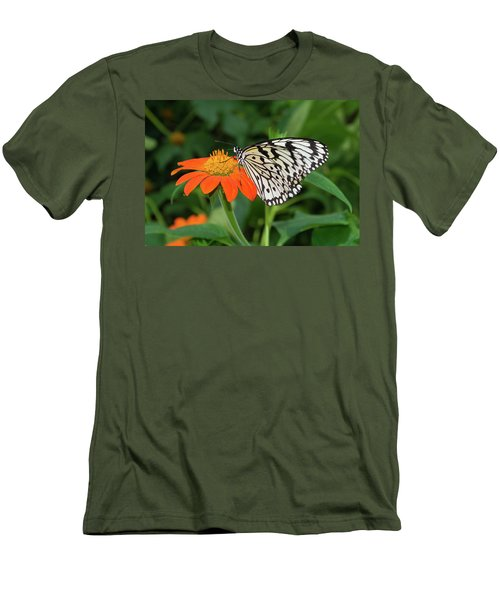Men's T-Shirt (Slim Fit) featuring the photograph Butterfly On Flower by Hans Engbers