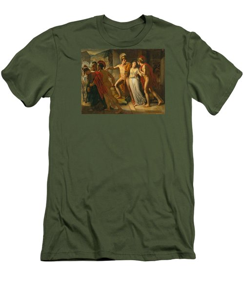 Men's T-Shirt (Slim Fit) featuring the painting Castor And Pollux Rescuing Helen by Jean-Bruno Gassies
