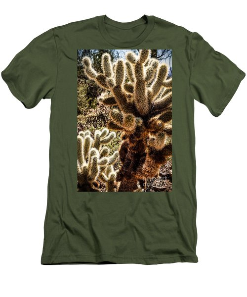 Men's T-Shirt (Slim Fit) featuring the photograph Cholla Cacti by Lawrence Burry