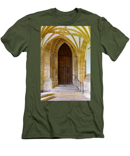 Cloisters, Wells Cathedral Men's T-Shirt (Slim Fit) by Colin Rayner