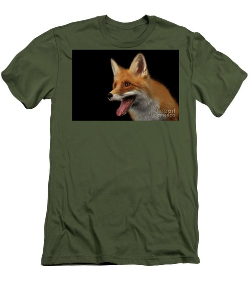 Closeup Portrait Of Smiled Red Fox Isolated On Black  Men's T-Shirt (Slim Fit) by Sergey Taran