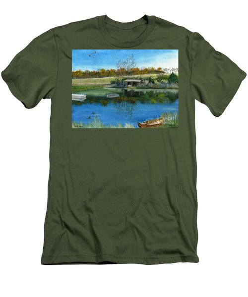 Men's T-Shirt (Slim Fit) featuring the painting Cole Hill Pond by Melly Terpening