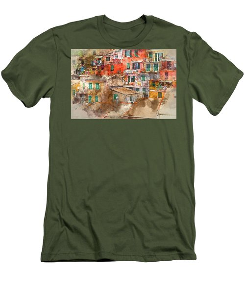 Colorful Homes In Cinque Terre Italy Men's T-Shirt (Athletic Fit)