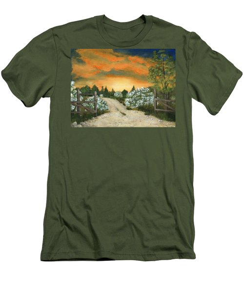 Men's T-Shirt (Athletic Fit) featuring the painting Country Road by Anastasiya Malakhova