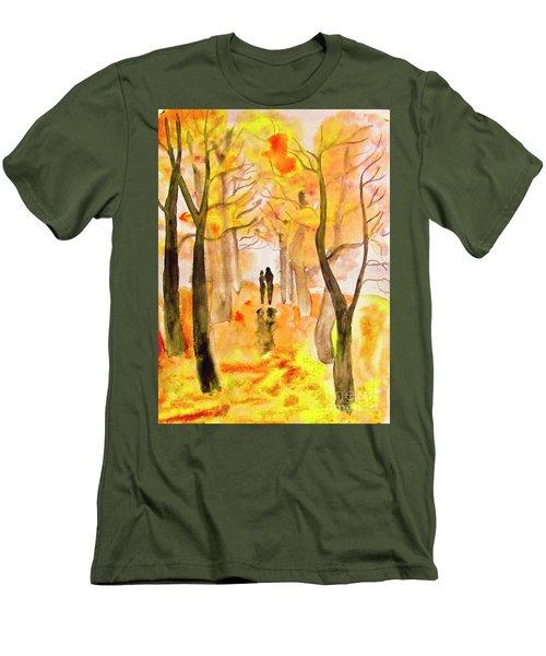 Couple On Autumn Alley, Painting Men's T-Shirt (Slim Fit) by Irina Afonskaya