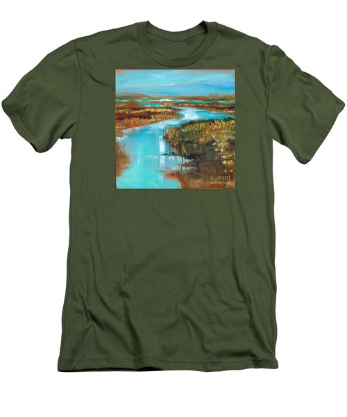 Curve In The Waterway Men's T-Shirt (Slim Fit) by Linda Olsen