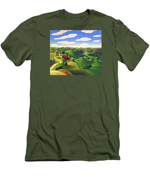 Men's T-Shirt (Slim Fit) featuring the painting Dairy Farm  by Robin Moline