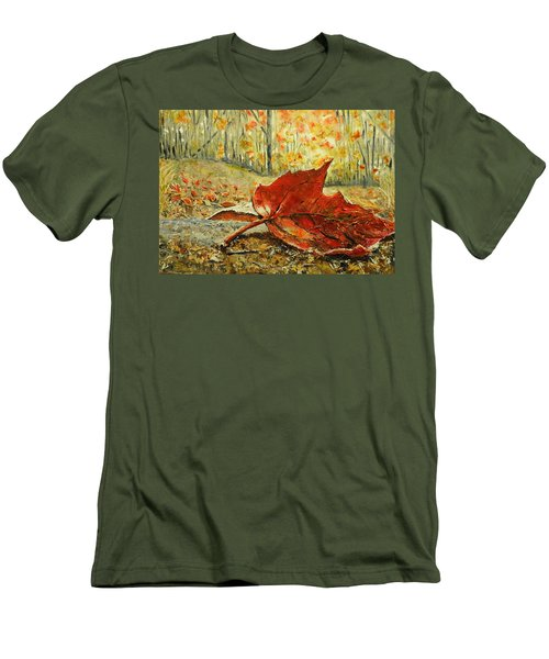 Fallen Leaf  Men's T-Shirt (Slim Fit) by Betty-Anne McDonald