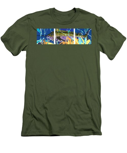 Men's T-Shirt (Slim Fit) featuring the mixed media Fiesta by Andrew Drozdowicz