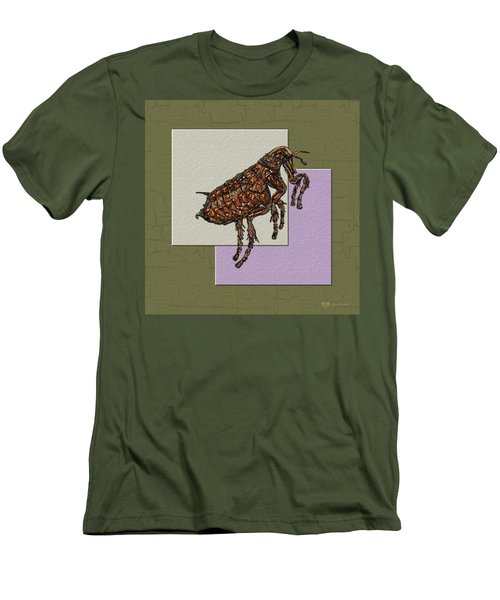 Flea On Abstract Beige Lavender And Dark Khaki Men's T-Shirt (Slim Fit)