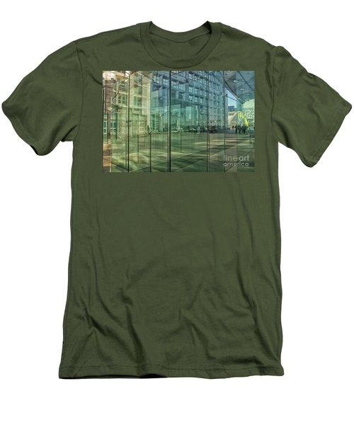 Men's T-Shirt (Slim Fit) featuring the photograph Glass Panels At Le Grande Arche by Patricia Hofmeester