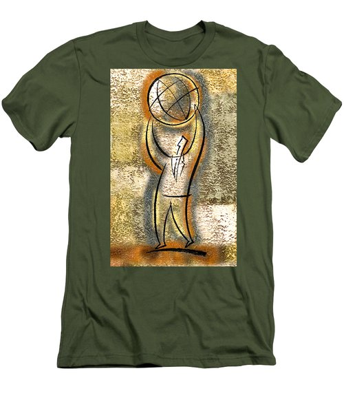 Men's T-Shirt (Slim Fit) featuring the painting Globalization  by Leon Zernitsky