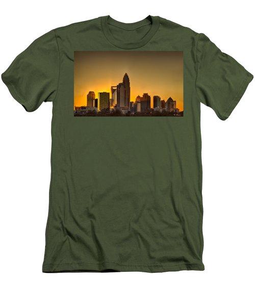 Golden Charlotte Skyline Men's T-Shirt (Slim Fit) by Alex Grichenko