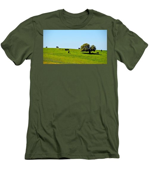 Men's T-Shirt (Slim Fit) featuring the photograph Grazing In The Grass by AJ Schibig