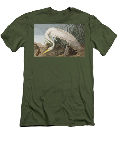 Great Egret Men's T-Shirt (Slim Fit) by John James Audubon