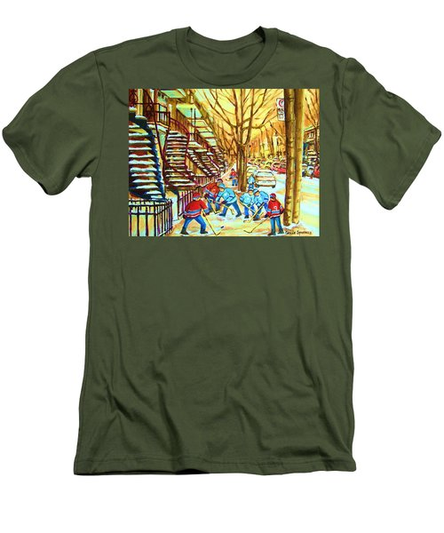 Men's T-Shirt (Slim Fit) featuring the painting Hockey Game Near Winding Staircases by Carole Spandau