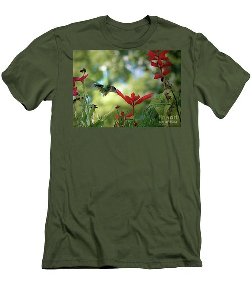 Hummingbird Delight Men's T-Shirt (Slim Fit) by Sue Stefanowicz