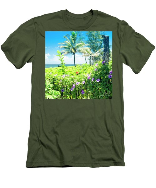 Ipomoea Keanae Morning Glory Maui Hawaii Men's T-Shirt (Slim Fit) by Sharon Mau