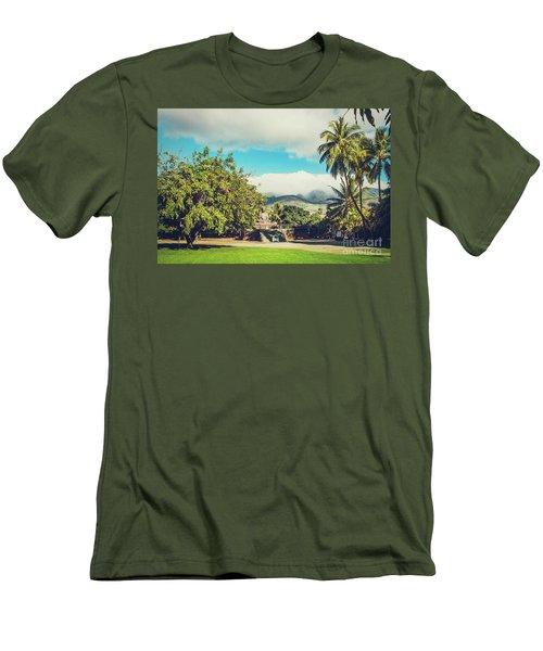 Men's T-Shirt (Slim Fit) featuring the photograph Jodo Shu Mission Lahaina Maui Hawaii by Sharon Mau
