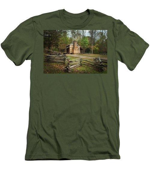 John Oliver Cabin Cades Cove Men's T-Shirt (Slim Fit) by Lena Auxier