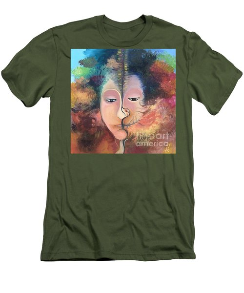 Men's T-Shirt (Slim Fit) featuring the painting La Fille Foret by Art Ina Pavelescu