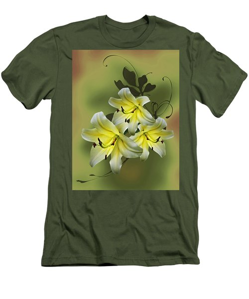 Men's T-Shirt (Slim Fit) featuring the photograph Lily Trio by Judy Johnson