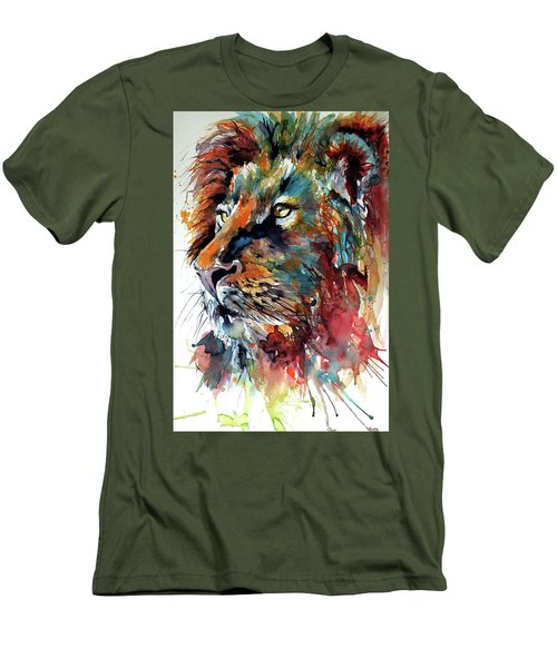 Men's T-Shirt (Slim Fit) featuring the painting Lion by Kovacs Anna Brigitta