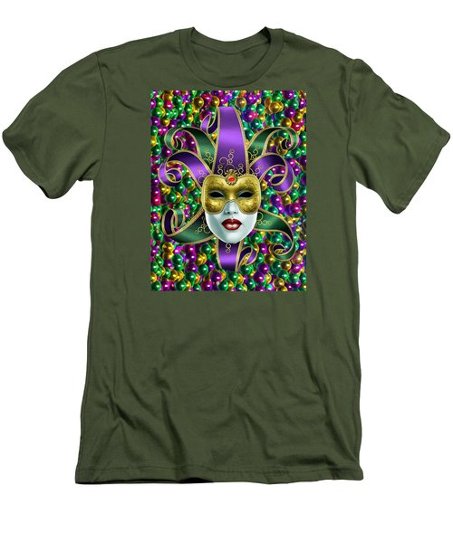 Men's T-Shirt (Slim Fit) featuring the photograph Mardi Gras Mask And Beads by Gary Crockett