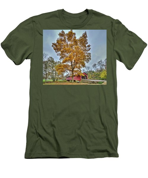 Maryland Covered Bridge In Autumn Men's T-Shirt (Athletic Fit)