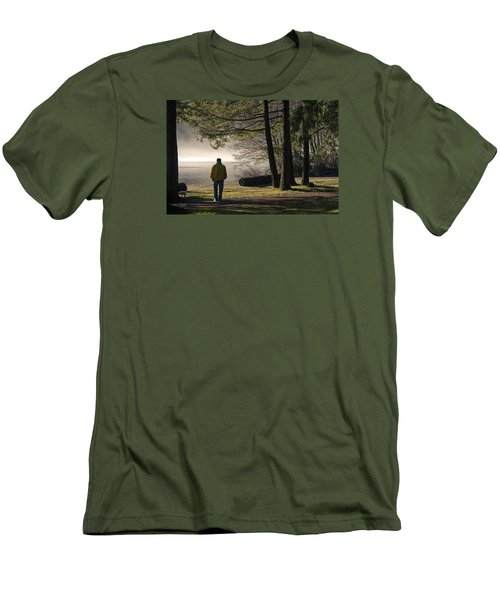 Men's T-Shirt (Slim Fit) featuring the photograph Morning Walk by Inge Riis McDonald