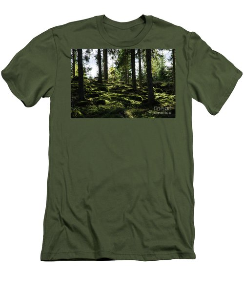 Men's T-Shirt (Athletic Fit) featuring the photograph Mossy Rocks by Kennerth and Birgitta Kullman