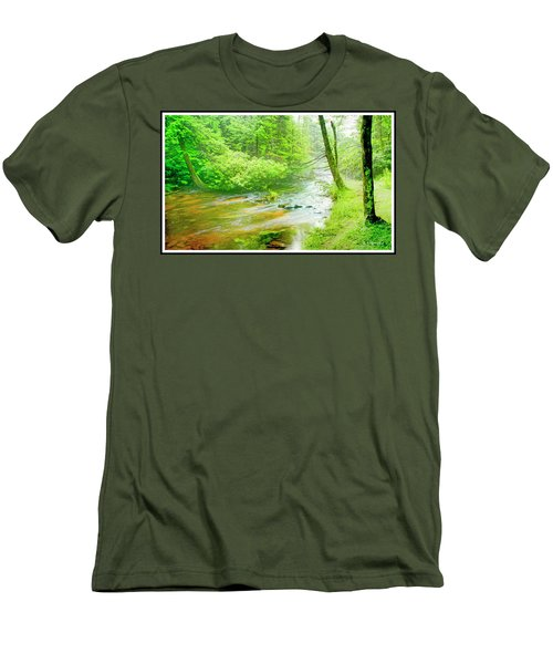 Mountain Stream, Pocono Mountains, Pennsylvania Men's T-Shirt (Slim Fit) by A Gurmankin