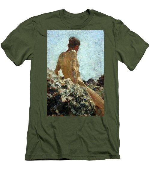Men's T-Shirt (Slim Fit) featuring the painting Nude Study by Henry Scott Tuke