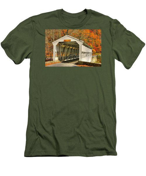 Pa Country Roads - Knox Covered Bridge Over Valley Creek No. 2a - Valley Forge Park Chester County Men's T-Shirt (Slim Fit) by Michael Mazaika