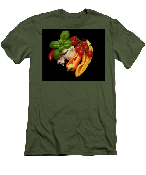 Men's T-Shirt (Slim Fit) featuring the photograph Peppers Basil Tomatoes Garlic by David French
